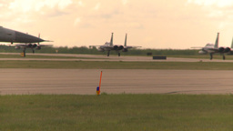 HD2009-6-6-51 F15s taxi F16 pulls up Footage