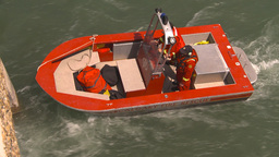 HD2009-6-8-17 fire rescue boat demo on peir Footage