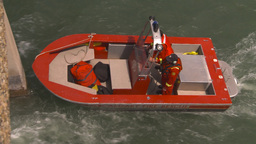 HD2009-6-8-17 fire rescue boat demo on peir Stock Video Footage