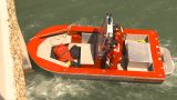 HD2009-6-8-19 Fire Rescue Boat Demo On Peir stock footage