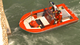 HD2009-6-8-19 fire rescue boat demo on peir Stock Video Footage
