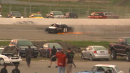 HD2009-6-12-20 stock car race hard crash Stock Video Footage