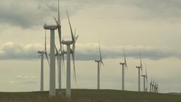 HD2009-6-20-16 wind turbines on ridge Stock Video Footage