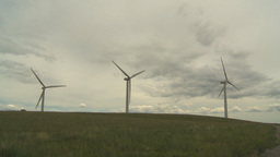 HD2009-6-20-18 wind turbines on ridge Stock Video Footage
