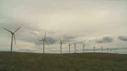 HD2009-6-20-22 wind turbines on ridge Stock Video Footage