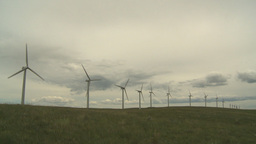 HD2009-6-20-22 wind turbines on ridge Stock Video Footage