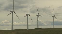 HD2009-6-20-24 wind turbines on ridge Stock Video Footage