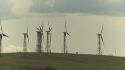 HD2009-6-20-30 wind turbines on ridge Stock Video Footage