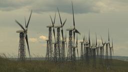HD2009-6-20-36 wind turbines on ridge Stock Video Footage