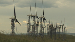 HD2009-6-20-36 wind turbines on ridge Stock Video Footage