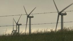 HD2009-6-20-38 wind turbines on ridgebarb wire Footage
