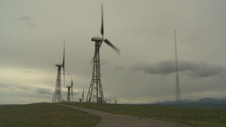 HD2009-6-20-40 wind turbines on ridge Footage