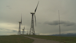 HD2009-6-20-40 wind turbines on ridge Stock Video Footage