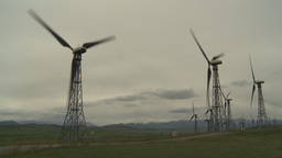 HD2009-6-20-42 wind turbines on ridge Stock Video Footage