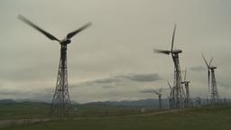 HD2009-6-20-42 wind turbines on ridge Stock Video Footage