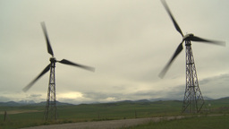 HD2009-6-20-44 wind turbines on ridge Footage