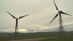 HD2009-6-20-44 wind turbines on ridge Stock Video Footage