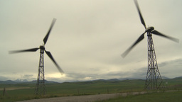 HD2009-6-20-44 wind turbines on ridge Stock Video Footage
