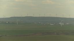 HD2009-6-20-48 wind turbines on ridge Stock Video Footage