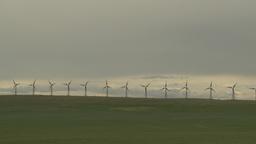 HD2009-6-20-50 wind turbines on ridge Stock Video Footage