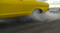 HD2009-6-22-12 motorsports, drag racing yellow nova burnout Stock Video Footage