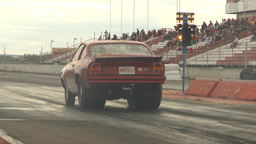 HD2009-6-22-24 motorsports, drag racing red vega launch Stock Video Footage