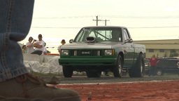 HD2009-6-22-30 motorsports, drag racing green pickup burnout slomo Footage