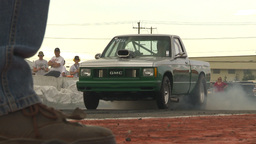 HD2009-6-22-30 motorsports, drag racing green pickup... Stock Video Footage