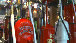 HD2009-6-23-3 Old gas pumps 3-shot Stock Video Footage