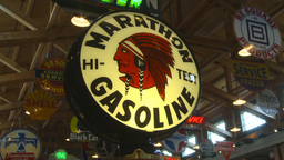 HD2009-6-23-9 Old gas pumps 3-shot Stock Video Footage