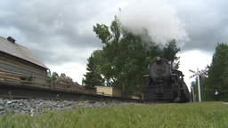 HD2009-6-24-3 old steam train at crossing Stock Video Footage