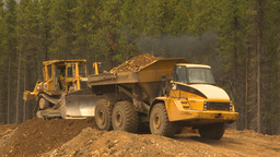 HD2009-6-22-9 dump truck and dozer LLL Footage
