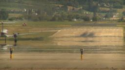 HD2009-6-26-15 air ambulance twin prop takeoff LLL Stock Video Footage