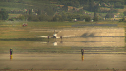 HD2009-6-26-15 air ambulance twin prop takeoff LLL Stock Video Footage