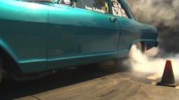 HD2009-6-27-21 motorsports, drag racing chevy nova burnout Stock Video Footage