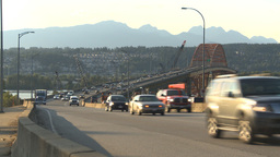 HD2009-6-29-23 vancouver Port Mann bridge traffic Stock Video Footage