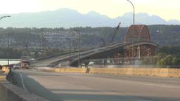HD2009-6-29-25d vancouver Port Mann bridge traffic TL Stock Video Footage