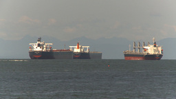 HD2009-6-31-2 cargo ships in strait Stock Video Footage