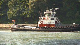 HD2009-6-31-10 tug boat through frame Stock Video Footage