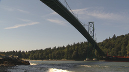 HD2009-6-31-18 cargo ship under lions bridge Stock Video Footage