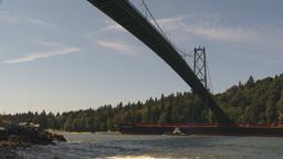 HD2009-6-31-18 cargo ship under lions bridge Stock Video Footage