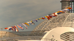 HD2009-6-31-32 cruise ship flags Footage