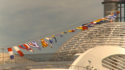 HD2009-6-31-32 cruise ship flags Stock Video Footage