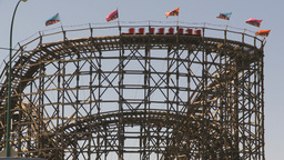 HD2009-6-33-7 wooden rollercoaster Stock Video Footage