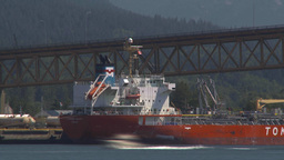 HD2009-6-33-19 traffic over bridge and ship TL Stock Video Footage