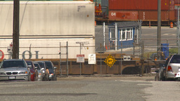 HD2009-6-33-21 intermodal train and shipyard 2shot Stock Video Footage