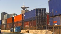 HD2009-6-33-23 intermodal train and skyline Stock Video Footage