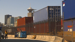 HD2009-6-33-25 intermodal train and skyline forklift Stock Video Footage
