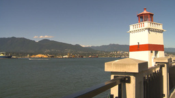 HD2009-6-34-18 lighthouse pan to lions gate bridge Stock Video Footage