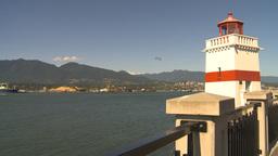 HD2009-6-34-18 lighthouse pan to lions gate bridge Stock Video Footage